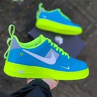 Nike Air Force Low AF1 Skate shoes Women men Blue Face With Fluorescent green Soles
