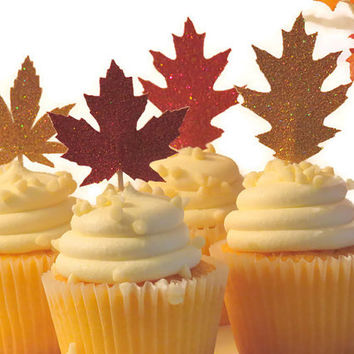 Fall Leaves Cupcake Toppers, Thanksgiving Decorations, Fall Wedding, Autumn Decor, Maple leaf, Oak, 12CT, glitter