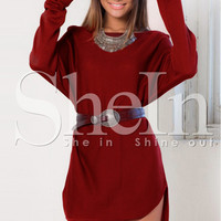 Red Long Sleeve Short Front Mini Shift Dress