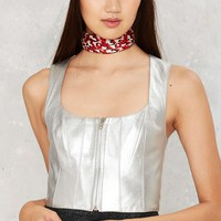 Vintage Paco Rabanne Shine On Leather Bustier