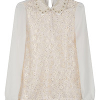 White Daisy and Pearl Embellished Blouse