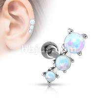 Triple Opal Ball 316l Surgical Steel Tragus/cartilage Barbell