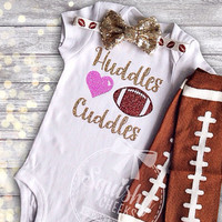 Huddles and Cuddles, Baby Girl Football Outfit, Sparkly Football Outfit, Bodysuit, Leg Warmers & Headband, Preemie-6T, Trendy Football Fan