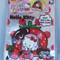 Sanrio Hello Kitty And Strawberry Chocolate Dessert House Transparent Japanese Plastic Gift / Party Bags 15pcs