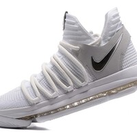 2017 Nike Mens Kevin Durant KD 10 White/Silver Basketball Shoes