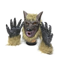 Creepy Full Face Wolf Latex Mask and Wolf Claws Theater Prank Prop Crazy Masks Halloween Costume