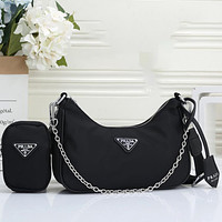 Prada new two-piece set, chain shoulder bag, coin purse, fashionable ladies one-shoulder messenger bag