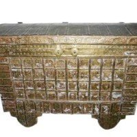 Indian Antique Hope Chest on Wheels Hand Carved Brass Cladded Trunk Buffets India Dowry Pitara
