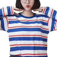 Blue Red White Striped Shirt