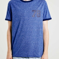 Blue Salt And Pepper Ringer T-Shirt