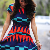 She's An Island Girl Dress: Navy/Red | Hope's