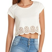 Laser Cut-Out Scalloped Crop Top by Charlotte Russe - Ivory