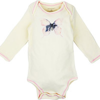 Long Sleeve Unisex Baby Onesuit w/ Imprints Pink Butterfly