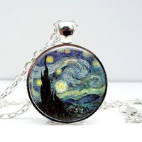 Starry Night Van Gogh Dome Pendant Necklace - Whimsical & Unique Gift Ideas for the Coolest Gift Givers