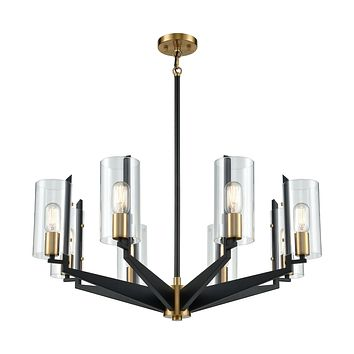 Blakeslee 8-Light Chandelier in Matte Black and Satin Brass with Clear Glass