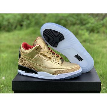 Air Jordan 3 Retro Luxury Gold Color/ Red Silk