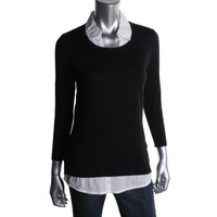August Silk Womens Ribbed Knit Long Sleeves Pullover Sweater