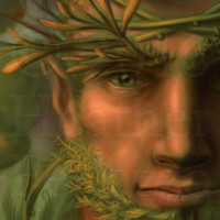 The Green Man Pagan Gods Mythological Forest Painting 8x10