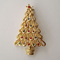 """Christmas Tree Pin Goldtone w Enamel 'Ornaments"""" Red Green Blue Holiday Jewelry"""