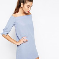 Love Off Shoulder Shift Dress with Bow Sleeve