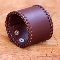 Genuine Brown and Black Leather Wristband Bracelet, Unisex Leather Cuff, Clasp Bracelet