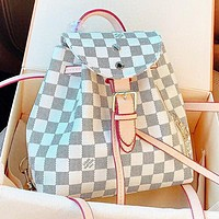 LV Fashion New Tartan Print Leather Shoulder Bag Handbag Backpack Bag Crossbody Bag Book Bag White