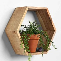 Honeycomb Wood Shelf - Brown One