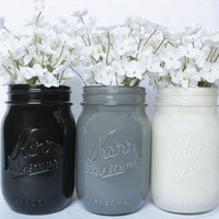 Painted Mason Jar Set: Black, Gray, and White