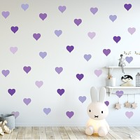 36 Purple Heart Wall Decals, Nursery Wall Decor, Removable and Reusable Fabric Heart Wall Stickers