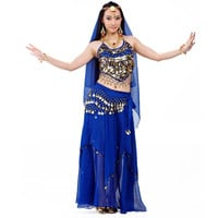 Belly Dance Costume Set Professional Top&Pants&Hip Scarf Indian Dress Lady Belly Dancing Dance Wear Practice/Performance