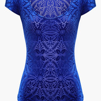 Blue Embroidered Bodysuit