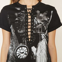 New York Graphic Lace-Up Top   Forever 21 - 2000203019