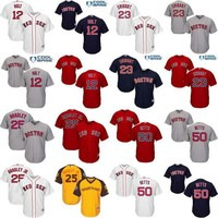 Youth 12 Brock Holt 23 Blake Swihart 25 Jackie Bradley Jr 50 Mookie Betts Boston Red Sox kids Baseball Jersey stitched