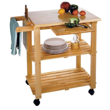 Kitchen Cart with Cutting Board, Knife Block & Shelves