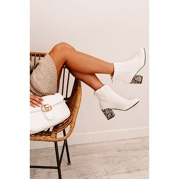 IMPERFECT Don't Mess With Me Snake Heel Booties (White)