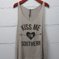 Kiss Me I'm Southern Tank Top (Small)