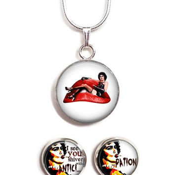 "Unique Rocky Horror Picture Show ""Antici...Pation"" Silver Plated Jewelry Set"