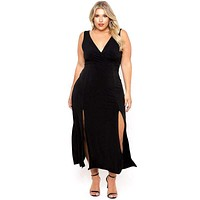 Women Solid Color Sleeveless Lace Side Slit Plus Size Dress