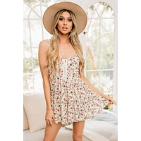 Meant For Us Floral Bustier Romper (Ivory)