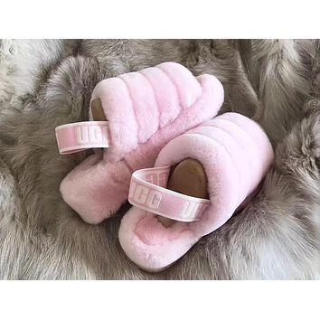 """UGG"" Hight Quality Trending Women Stylish Fluff Yeah Slippers Shoes Light pink"