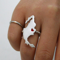 Any state love ring with enameled heart in silver metal Montana State Love Ring Mexico Love ring
