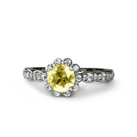 14K Lemon Yellow Sapphire Engagement Ring with Diamond Halo Sapphire Ring Bridal Jewelry