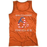 Majestic Threads Baltimore Orioles Stars & Stripes Tri-Blend Tank Top - Orange