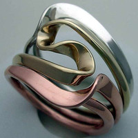 Tesla Inspired Silver, 14k Yellow Gold and Copper Vortex Energy Ring.