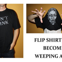 DON'T BLINK - Doctor Who Inspired Adult UNISEX Flip up Shirt with Weeping Angel