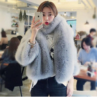O neck Long Hairy Shaggy Faux Fox Fur Jackets With Scarf 1 Set Woman Three Quarter sleeve Loose Faux Fur Coat Outerwear