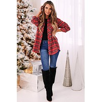 Here For Smores Plaid Oversized Shirt (Red Multi)