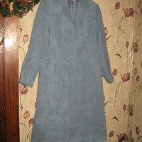 1960S designed by Kings TAILOR Hong Kong womens blue brushed suede coat W BELT