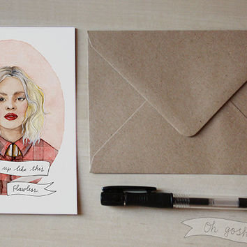 Beyoncé Knowles greeting Valentine's card watercolor illustration