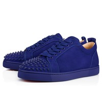 Christian Louboutin Louis Junior Spikes Men's Women's Flat Atlantic Mat Suede 3170053U190